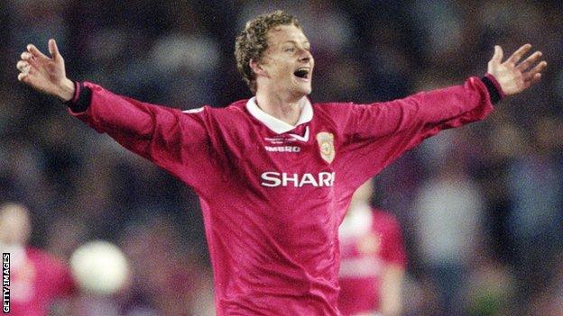 Ole Gunnar Solskjaer celebrates winning the Champions League
