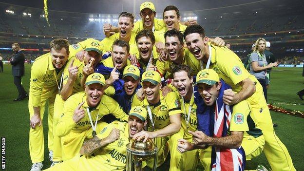 Australia celebrate winning the 2015 World Cup