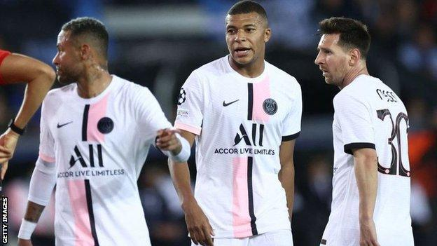 Neymar (left), Kylian Mbappe (centre) and Lionel Messi (right)