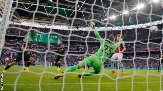 A crowd of 82,145 watched Manchester City beat Aston Villa 2-1 to win last season's Carabao Cup at Wembley Stadium