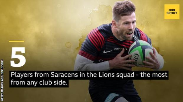 A picture of Elliot Daly and the words: 5 players from Saracens in the Lions squad - the most from any club side