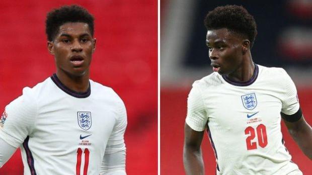 England pair Marcus Rashford and Bukayo Saka