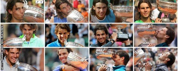 Un collage des 12 victoires de Nadal