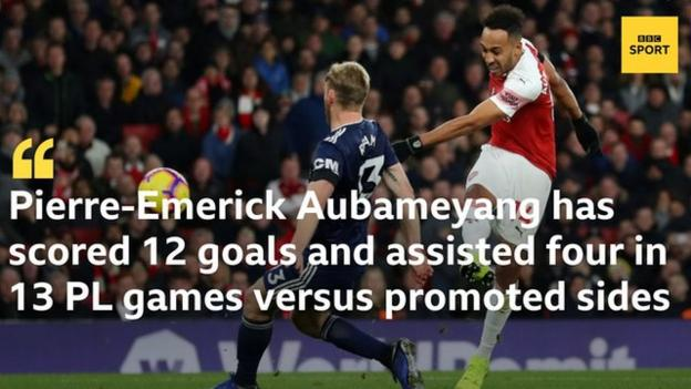 Pierre-Emerick Aubameyang has scored 12 goals and assisted four in 13 Premier League appearances against newly-promoted opponents, including three goals and an assist in two games against Fulham in 2018-19.