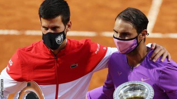 Novak Djokovic and Rafael Nadal after their recent Italian Open final