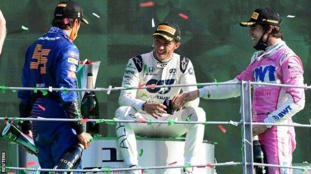Sainz, Gasly and Stroll on the podium