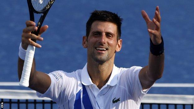Novak Djokovic celebrates winning at the Western and Southern Open