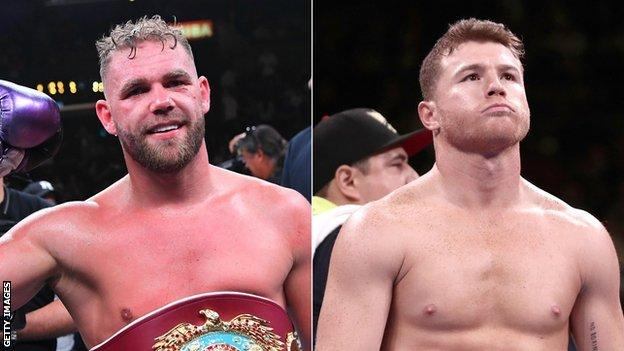 A split image of boxers Billy Joe Saunders (left) and Saul 'Canelo' Alvarez (right)