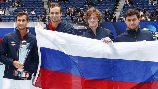 Russia celebrate winning the ATP Cup