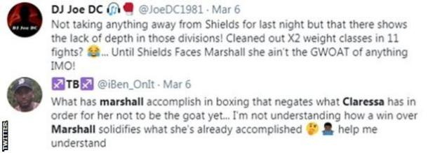 Fans on Twitter discuss whether Claressa Shields is the greatest women's boxer of all time. One says she isn't great until she beats Savannah Marshall while another says Shields has already solidified her status as the best