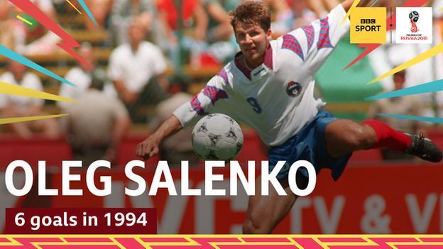 Oleg Salenko scores for Russia against Cameroon