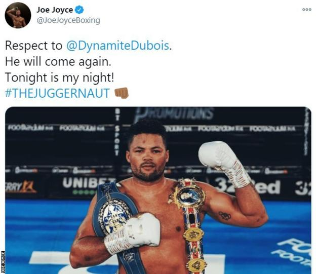 Joe Joyce tweets an image of himself holding the UK title
