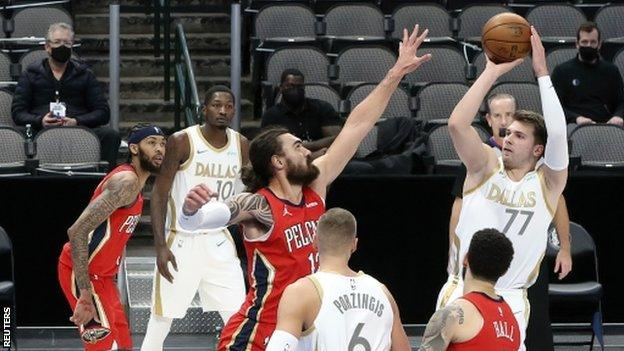 Luka Doncic playing against the New Orleans Pelicans