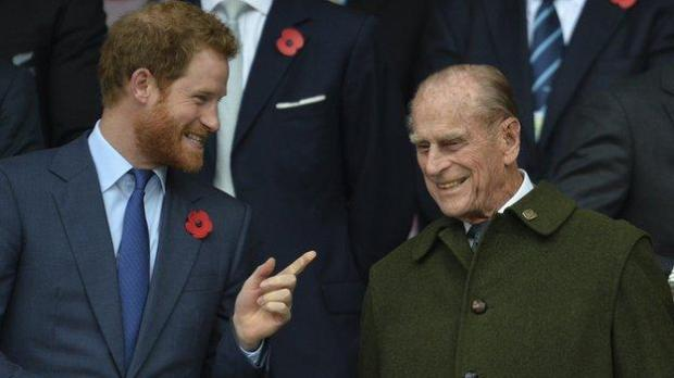 Prince Philip and Prince Harry at the 2015 Rugby World Cup final