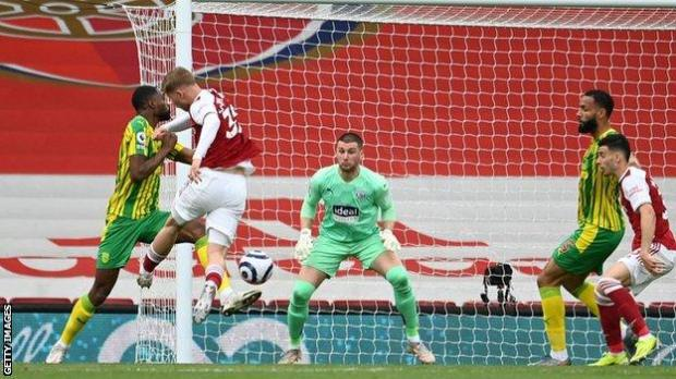 Emile Smith Rowe scored his first Premier League goal for Arsenal