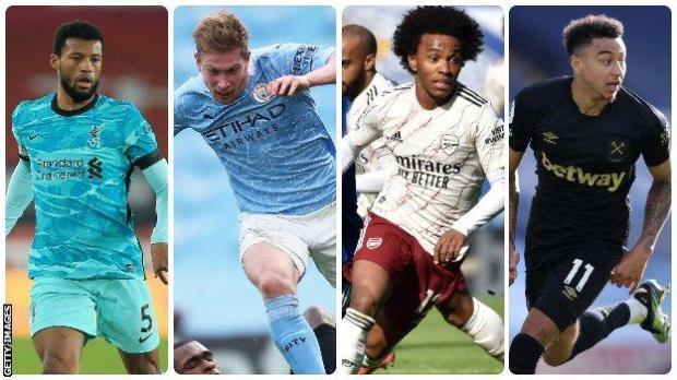 Left to right: Georginio Wijnaldum (Liverpool), Kevin De Bruyne (Manchester City), Willian (Arsenal), Jesse Lingard (West Ham United)