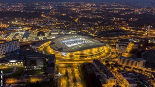 A general view of Porto's Estadio do Dragao ground which is hosting the 2021 Champions League final
