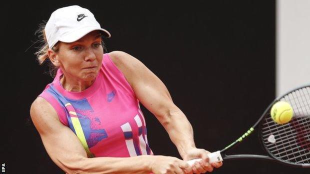 Simona Halep returns a ball at the Italian Open