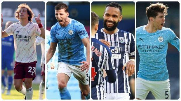 Left to right: David Luiz (Arsenal), Ruben Dias (Manchester City), Kyle Bartley (West Brom), John Stones (Manchester City)