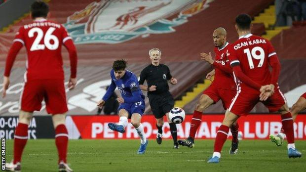 Mason Mount scores for Chelsea at Liverpool