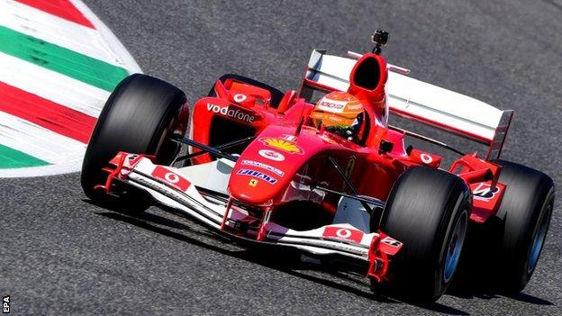 Mick Schumacher drives the F2004 around Mugello