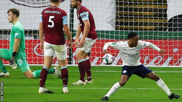 Manchester City score against Burnley in the Carabao Cup