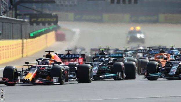 Max Verstappen leads the F1 sprint qualifying race