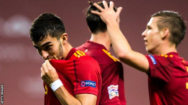 Ferran Torres celebrates scoring for Spain against Germany in the Nations League