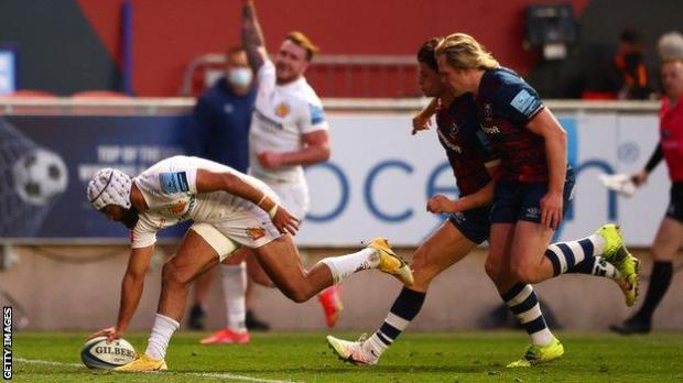 Tom O'Flaherty scores Exeter's second try at Bristol