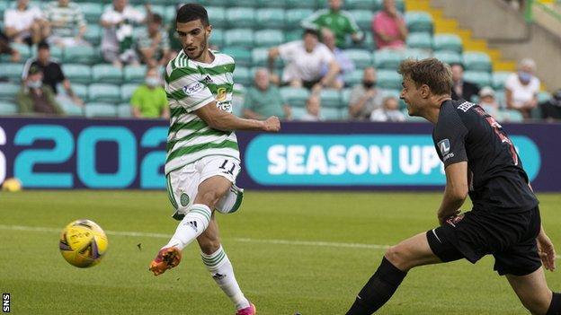Liel Abada's debut goal had Celtic ahead at the break