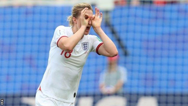 Ellen White celebrates scoring for England against Cameroon
