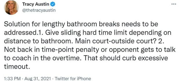 On Twitter, Tracy Austin proposes a time limit for bathtoom breaks