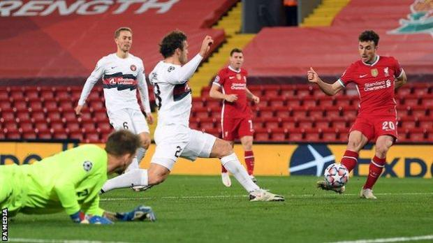 Diogo Jota scores for Liverpool against Midtjylland in the Champions League
