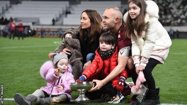 Andres Iniesta and family after Vissel Kobe won the Emperor's Cup in 2020