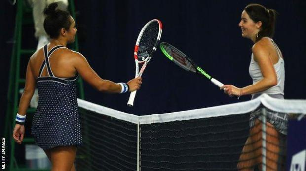 Heather Watson and Jodie Burrage after their match at the Battle of the Brits