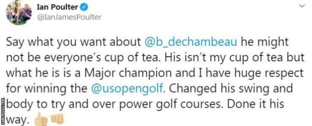 England's Ian Poulter and others gave DeChambeau credit for following through on his decision to change his game
