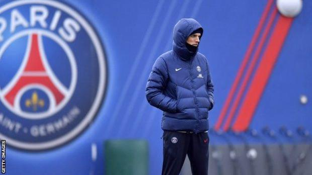 Thomas Tuchel looks on during a Paris Saint-Germain training session on 21 December