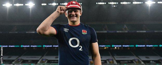 Jack Willis with his first cap in an empty Twickenham