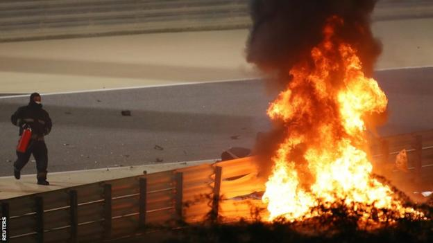 Grosjean crash