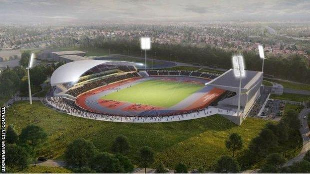 Artist's impression of Birmingham's Alexander Stadium after its revamp