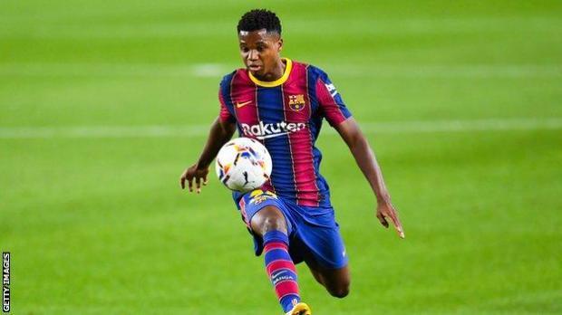 Ansu Fati playing for Barcelona
