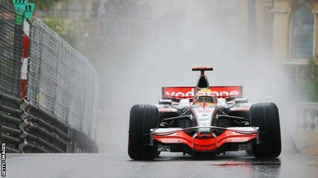 Lewis Hamilton wins the Monaco Grand Prix in the wet in 2008