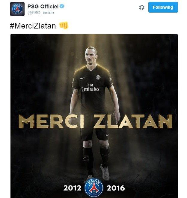 Shortly after Ibrahimovic's tweet, PSG took to social media to issue thanks to the Swede