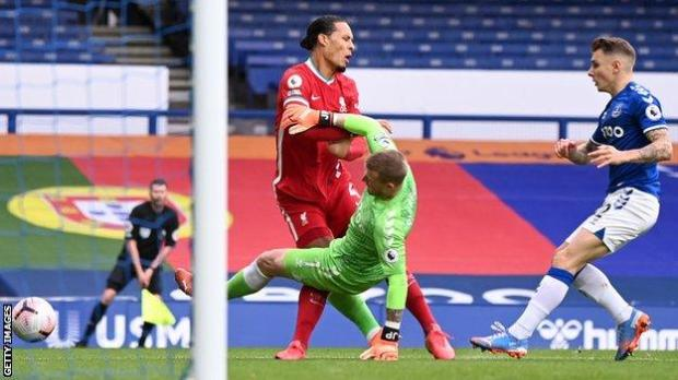 Jordan Pickford tackle on Virgil van Dijk
