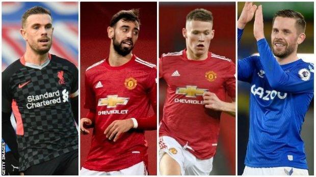 Liverpool's Jordan Henderson, Manchester United's Bruno Fernandes, Manchester United's Scott McTominay, Everton's Gylfi Sigurdsson