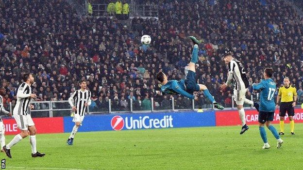 Cristiano Ronaldo scores a bicycle kick for Real Madrid against Juventus