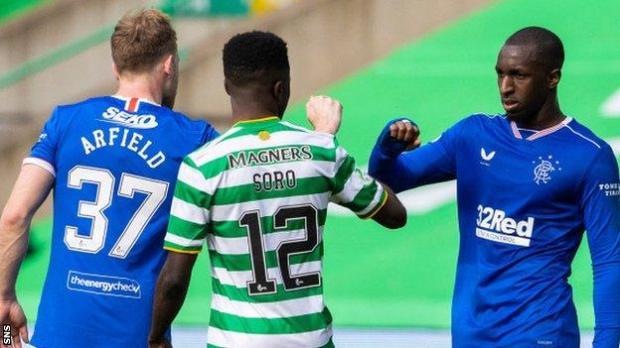 Rangers Scott Arfield, Celtic's Ismaila Soro and Rangers' Glen Kamara