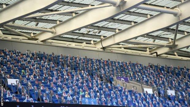 Clubs filled the void left by the lack of real fans at grounds by putting cardboard cutouts of supporters in seats