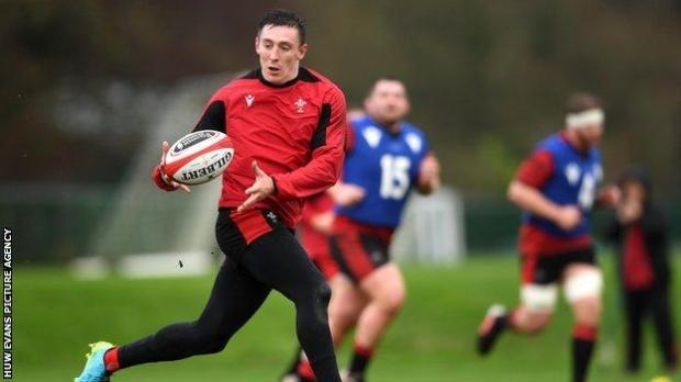 Josh Adams in Wales training on 2 February