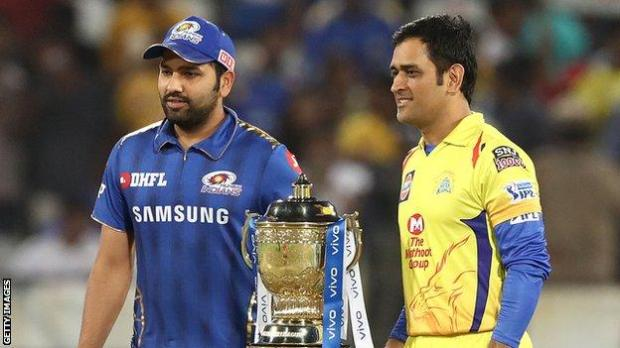 Chennai Super Kings captain MS Dhoni (left) poses with Mumbai Indians captain Rohit Sharma at the 2019 IPL final